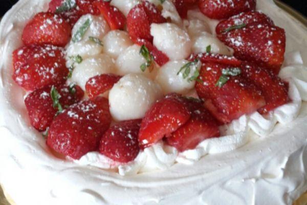 Recette Pavlova fraise litchi menthe