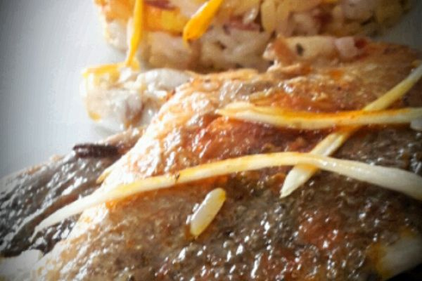 Recette Dorade royale  sauce chorizo et  son riz sauvage