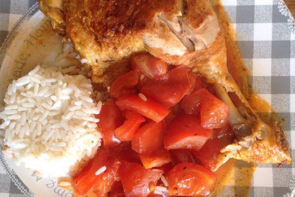 Recette Cuisse de poulet façon basquaise a la tomate et son riz - 10 pp
