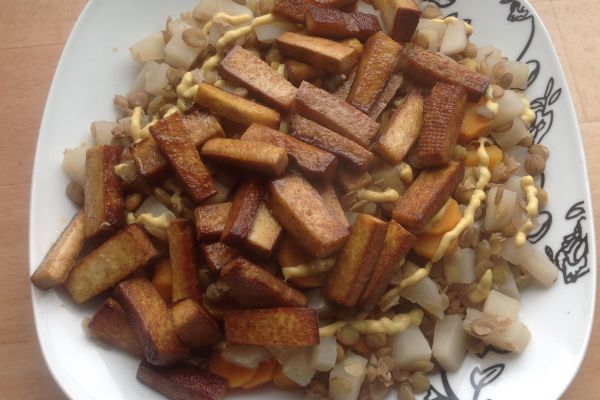 Recette Lentilles légumes et tofu fumé - 9 pp