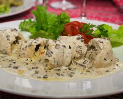 Recette Blanc de poulet aux champignons et boursin COOKEO