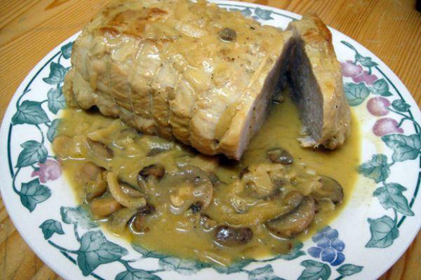 Recette Roti de porc, moutarde & champignons COOKEO