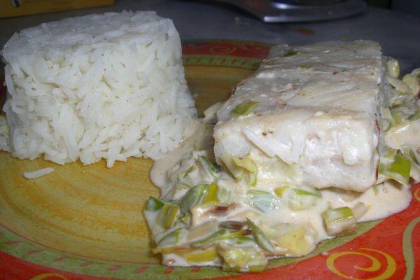 Recette Pavé de colin avec son riz - poireau COOKEO