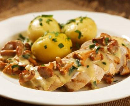 Recette Filet de poulet aux pdt, champignons sauce au parmesan COOKEO