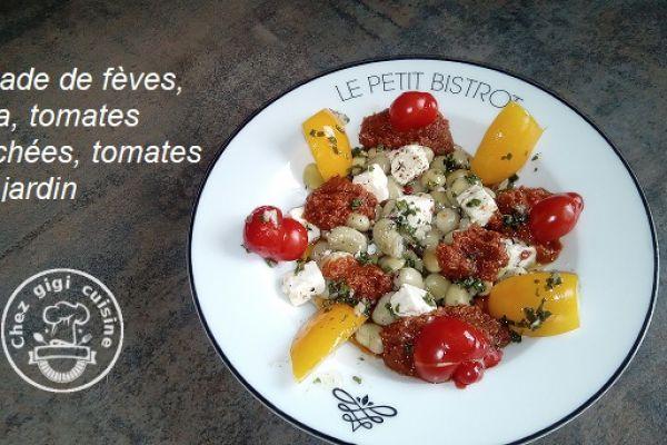 Recette Salade de feves, feta , tomates