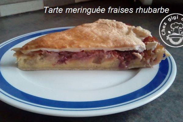 Recette Tarte meringuee aux fraises et rhubarbe