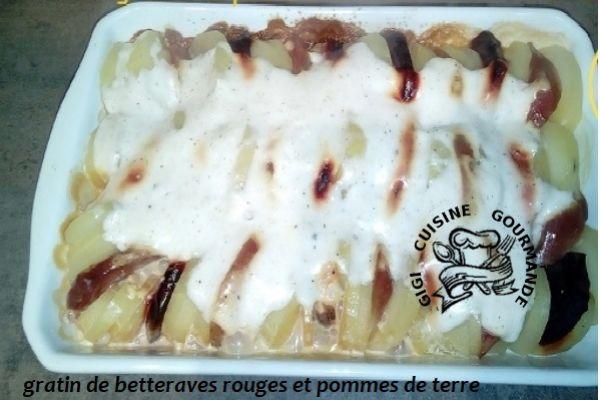 Recette GRATIN DE POMMES DE TERRE ET BETTERAVES ROUGES (cookéo)