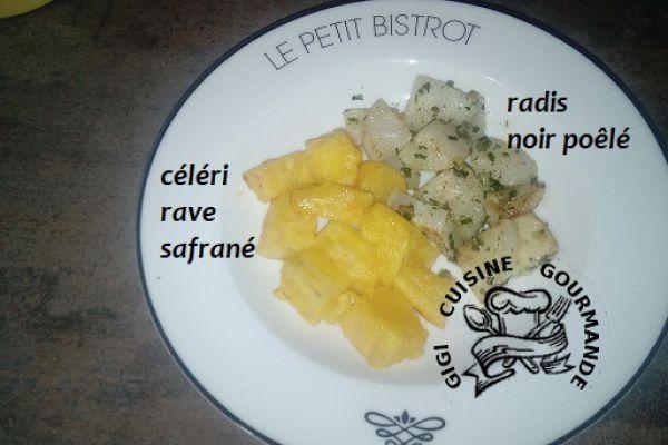Recette CELERI RAVE safrané et RADIS NOIR poêlé (cookéo)