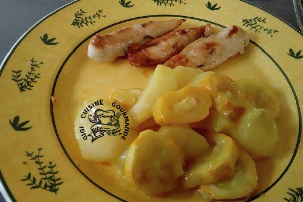 courgettes jaunes à la béchamel lait de coco
