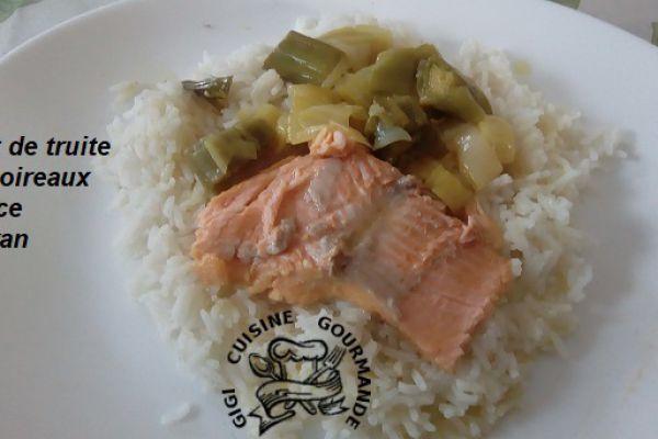Recette filet de truite et poireaux sauce safran (cookéo)