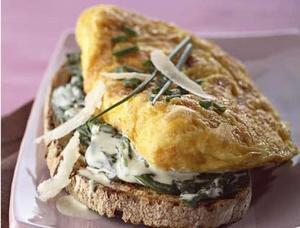 Recette Omelette et rôtie d'épinards