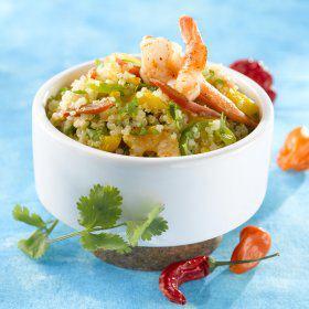 Recette Salade de quinoa aux crevettes et poivrons