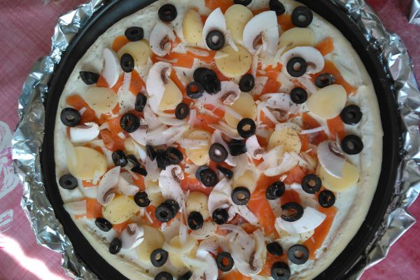 Recette Pizza Saumon, Crème fraîche, pdt...