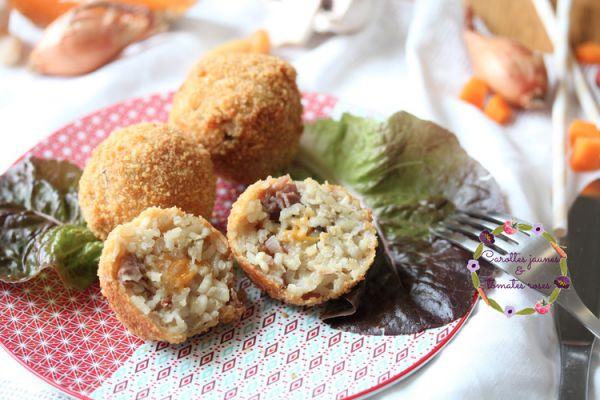 Arancinis champignons, jambon cru et mimolette