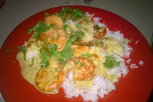 Recette Crevettes#tagliatelles de courgettes#riz au curry