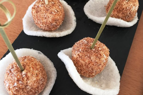 Recette Truffes au thon avec chips de crevette