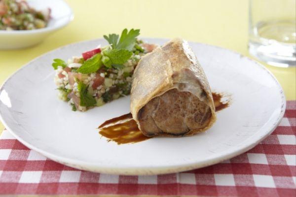 Recette Croustillant de filet mignon, salade au boulgour