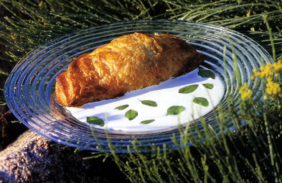 Recette Chaussons de Picodon et de jambon cru de pays à la crème de pi