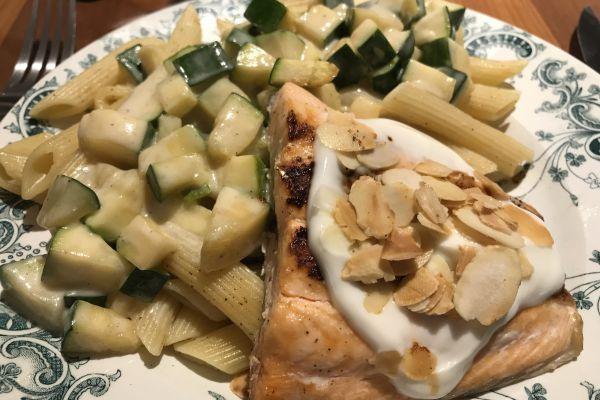Recette Pavé de saumon grillé aux amandes