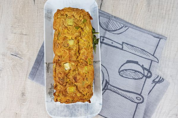 Recette Cake salé courgette poivron vert et poulet