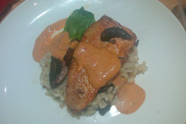 Recette filet de rouget et son coulis de poivron risotto aux champignons