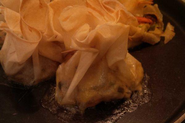 aumonières aux moules et fondue de poireaux