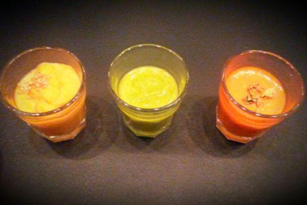 Recette Déclinaison de verrines poivron,carotte et courgette