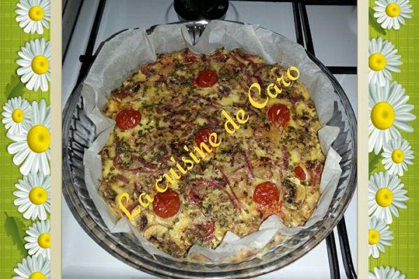 Recette quiche au chèvre et jambon fumé(sans pâte)