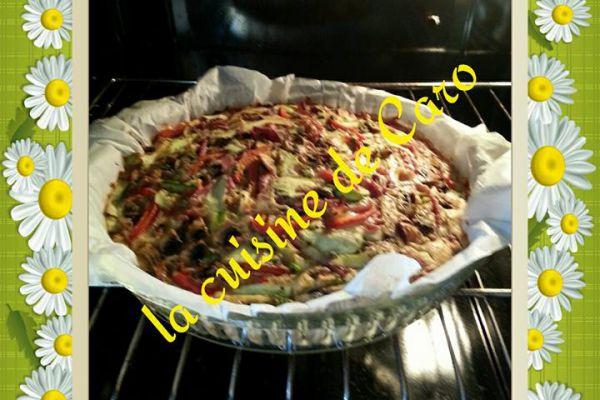 Recette Quiche merzer, jambon et légumes(sans pâte)