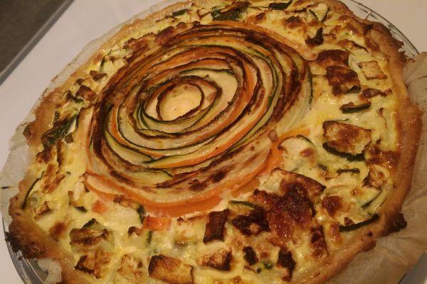 Recette Tarte mozzarella aux deux légumes