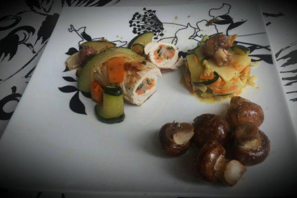 Recette Roulés de dinde aux 3 légumes..