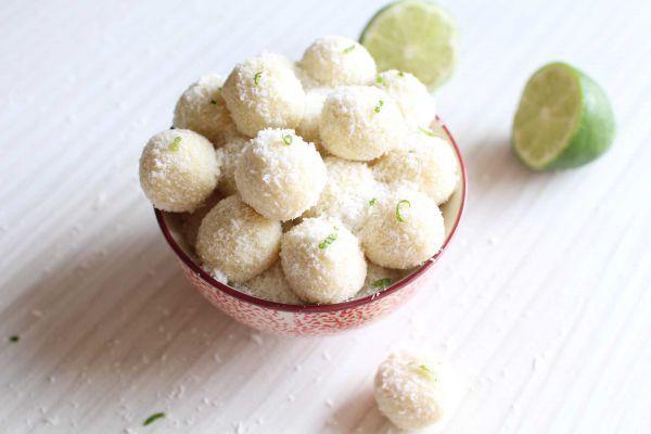 Recette Truffes noix de coco, chocolat blanc, citron vert et gingembre