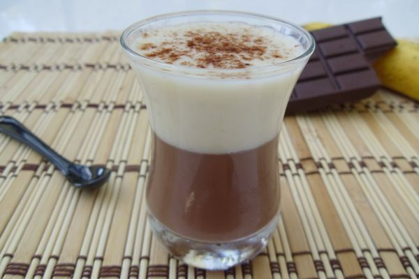 Mousse de banane sur crème chocolat