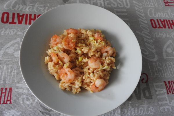 Recette risotto crémeux au crevettes parmesan