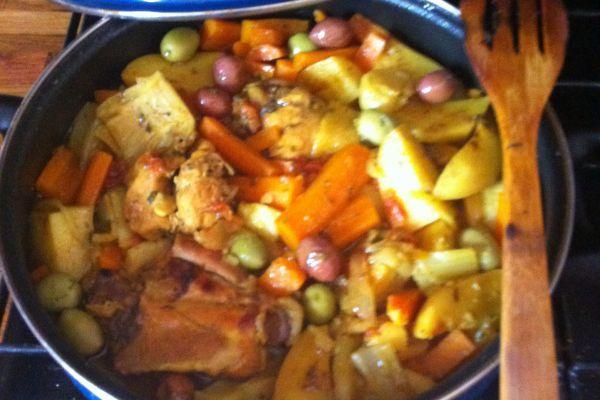 Recette Tagine poulet aux carottes, pommes de terre et fenouil
