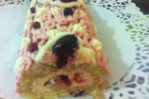 Recette Buche noix et fruits rouges