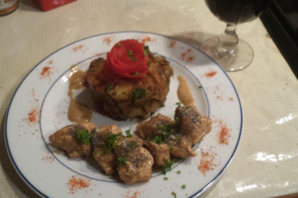 Recette Sauté de porc au vin blanc, pomme de terre fondantes