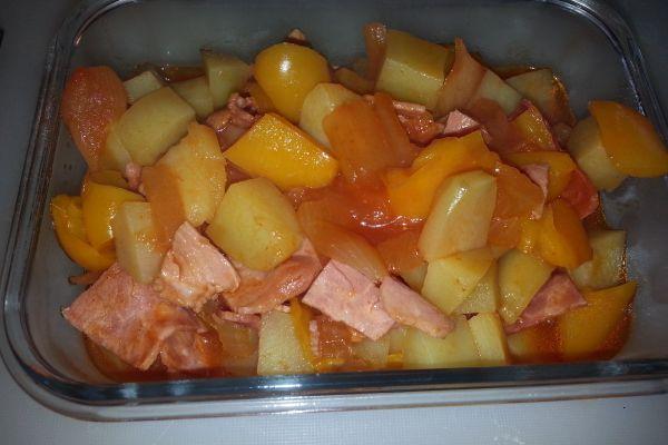 Recette Poivrons, pommes de terre et jambon COOKEO