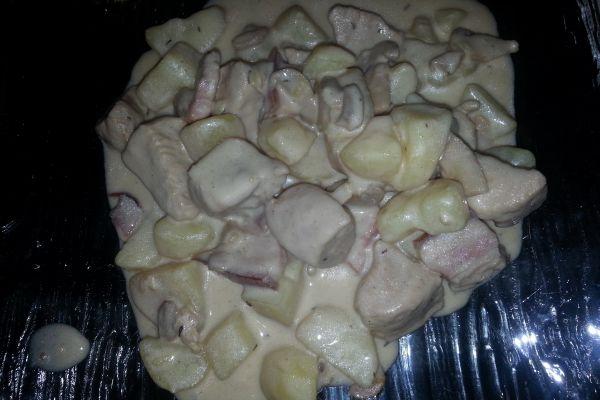 Recette Filets de poulet aux pdt, champignons sauce au parmesan COOKEO