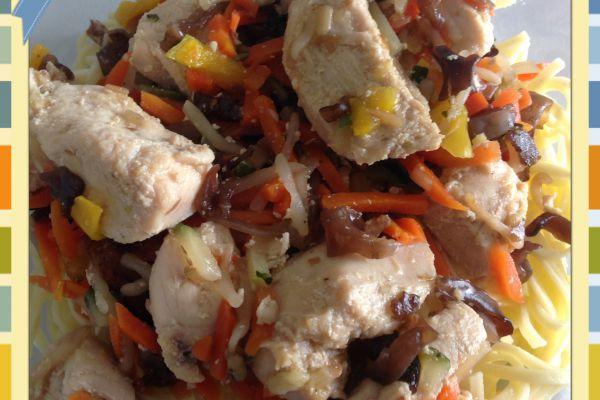 Recette Julienne de légumes et poulet façon wok au Cookeo