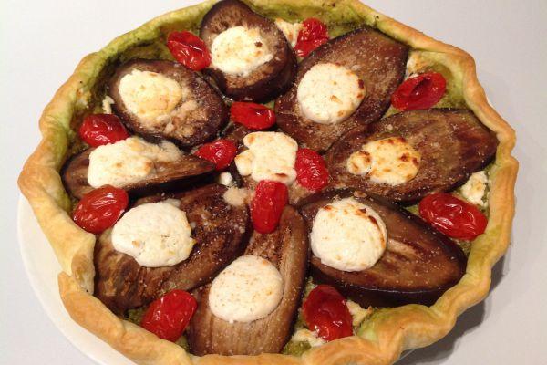 Recette Tarte aubergine tomate chèvre