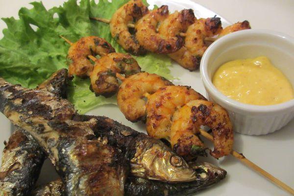 Gambas et Sardines grillées