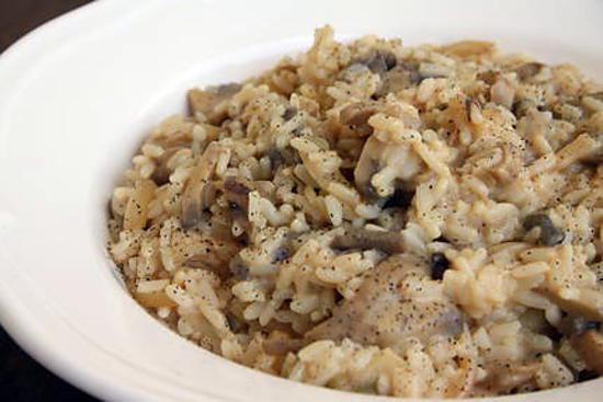 Risotto aux champignon de paris et aux (lardons)