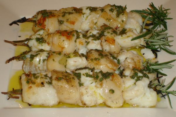 Recette Brochettes saumon st jacques