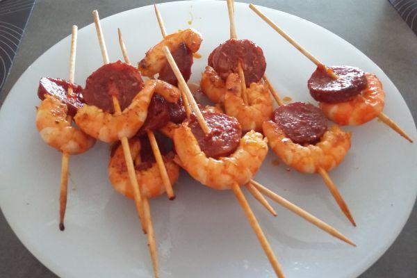 Recette Brochettes de crevettes chorizo