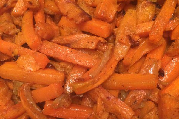 Recette carottes et patates douces roties