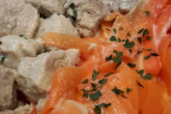 Recette Sauté de porc et ses tagliatelles de carottes au curry