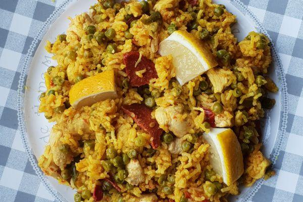 Recette Paella aux petits pois, poulet, chorizo