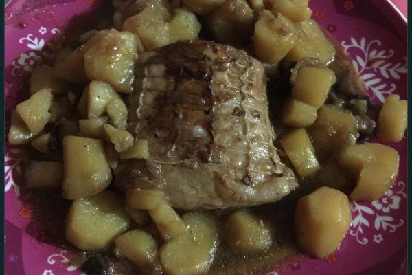 Recette Roti de porc, pommes de terre & champignons COOKEO