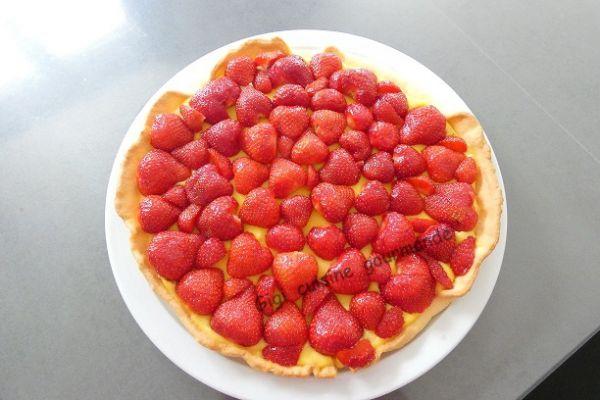 Recette tarte aux fraises crème pâtissière citronnée